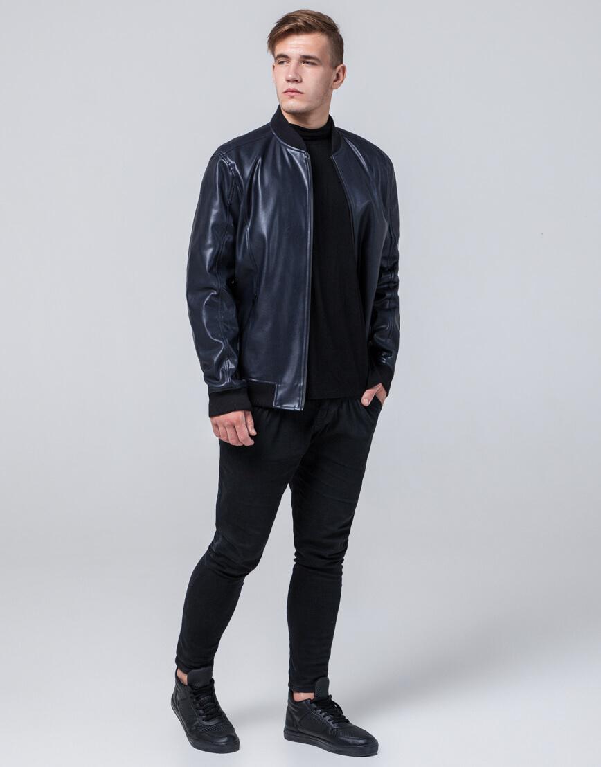 Брендовая темно-синяя молодежная куртка модель 4055 фото 2