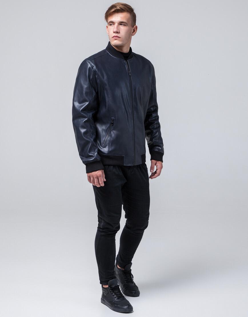 Брендовая темно-синяя молодежная куртка модель 4055 фото 3