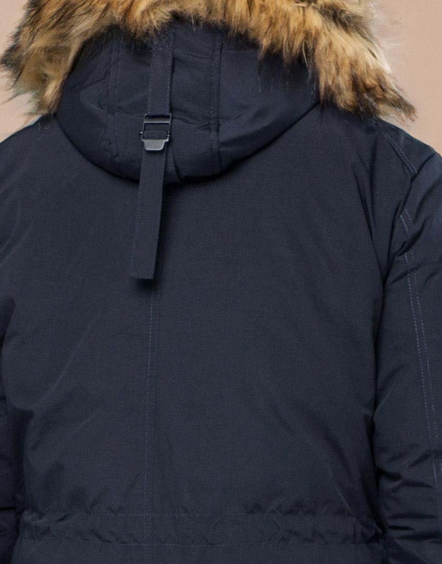 Парка темно-синяя зимняя удобного фасона модель 25770 фото 7