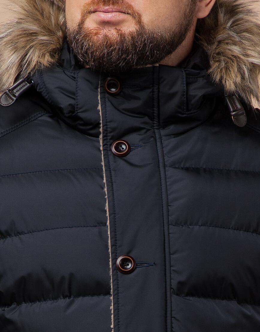 Куртка сине-черного цвета стильная модель 12149 фото 4