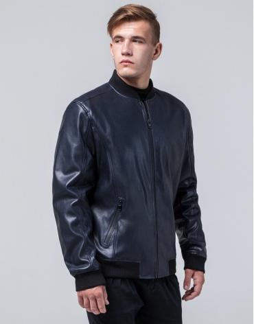 Брендовая темно-синяя молодежная куртка модель 4055 фото 1