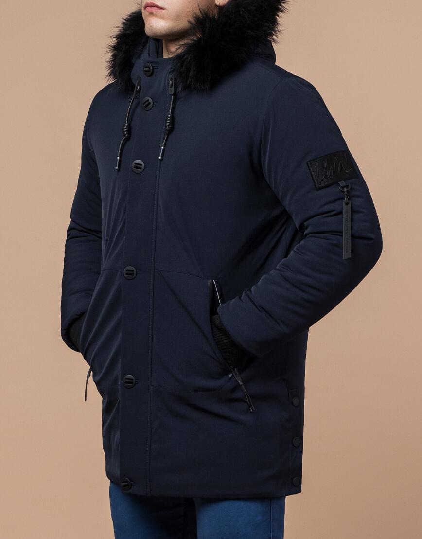Темно-синяя парка практичная зимняя модель 9842