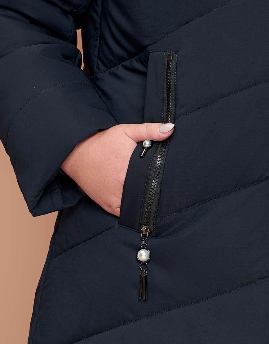 Куртка приталенная женская практичная темно-синяя модель 25015 фото 6
