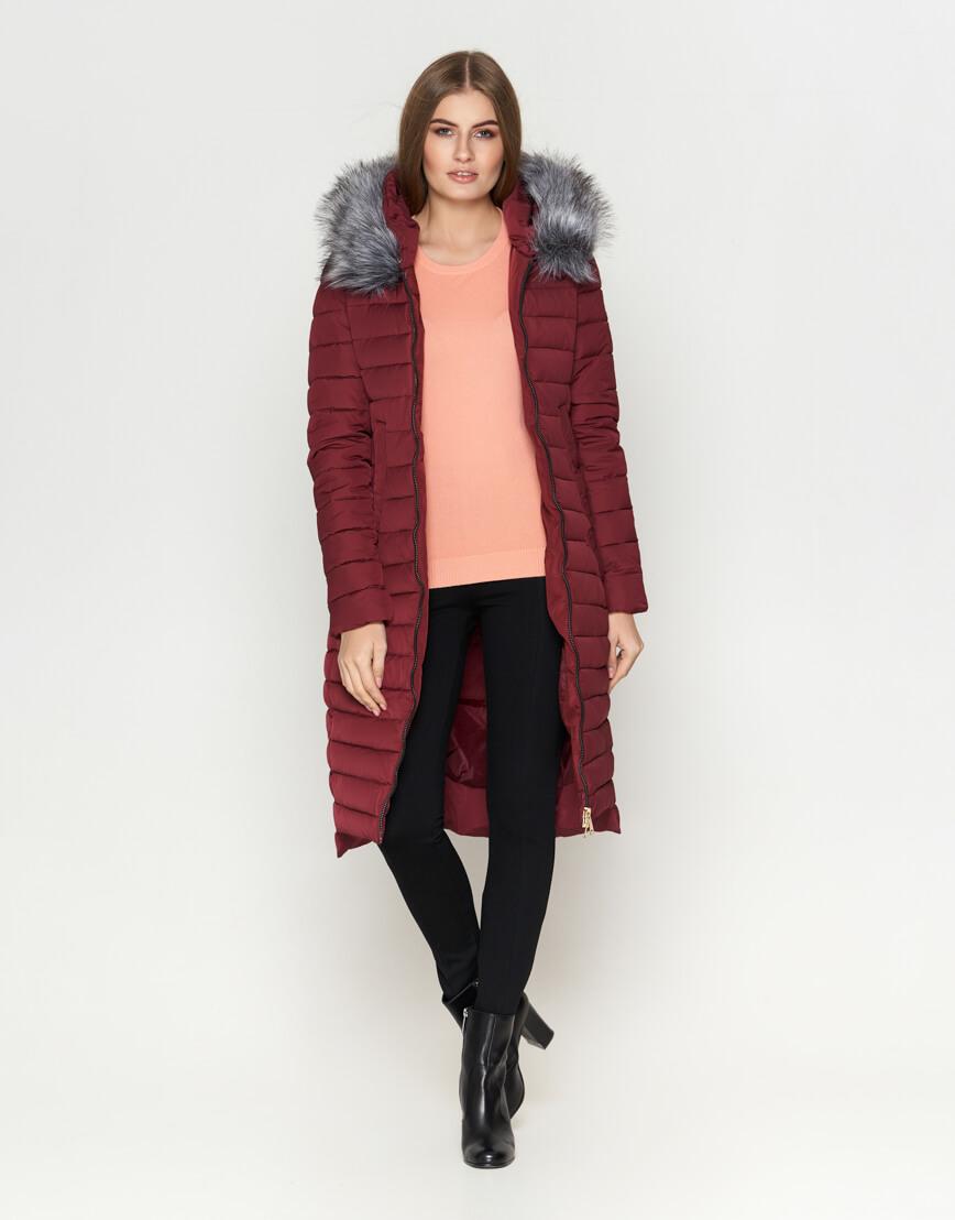 Женская куртка высокого качества бордовая модель 6615