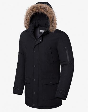 Брендовая черная зимняя куртка модель 8801