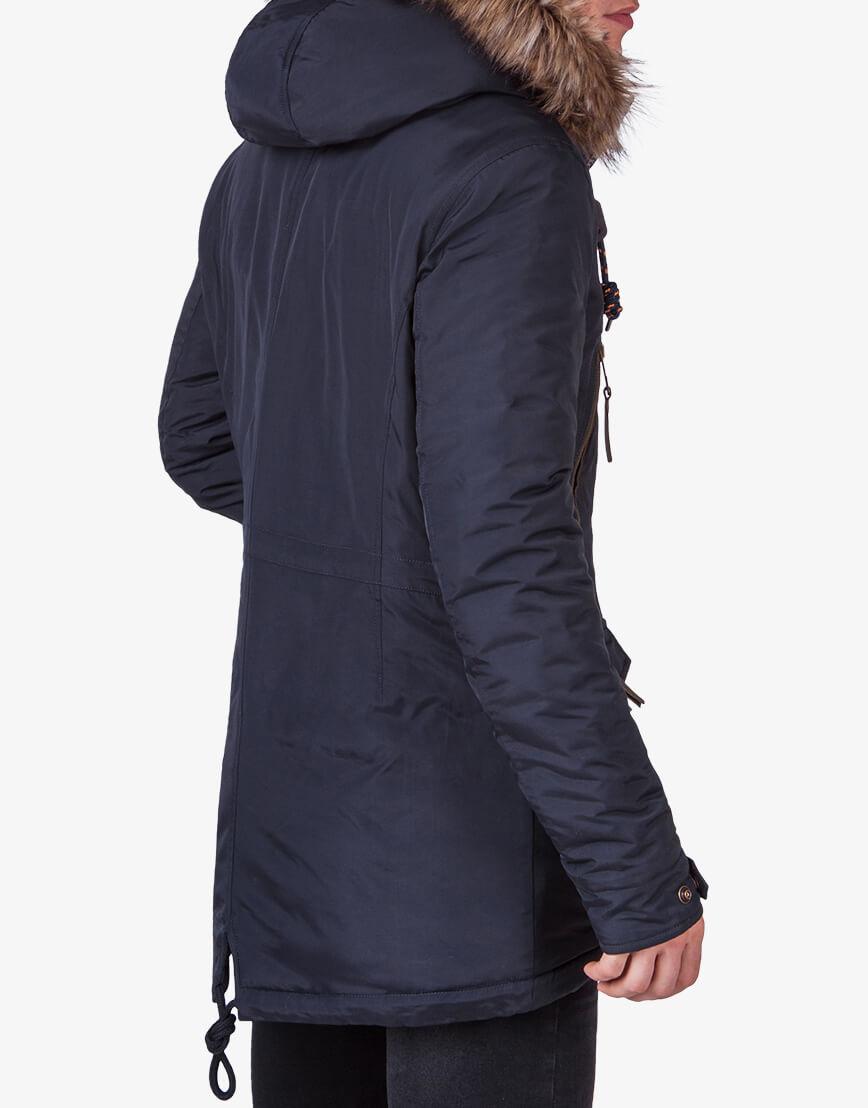 Мужская парка качественного пошива темно-синяя модель 2742