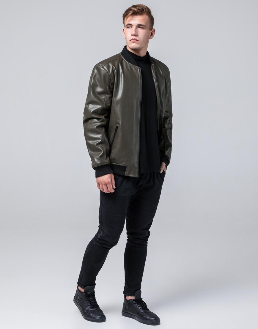 Молодежная качественная куртка цвет хаки модель 4055 фото 3