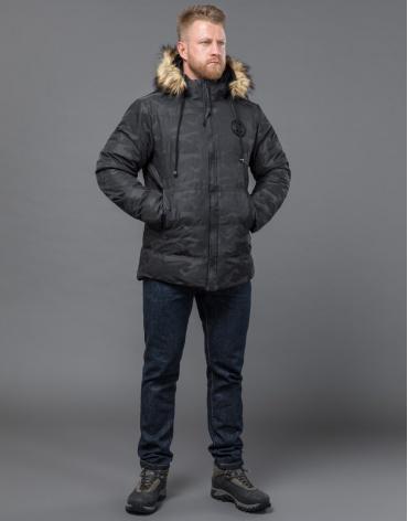 Дизайнерская черная куртка зимняя качественная модель 53759 оптом