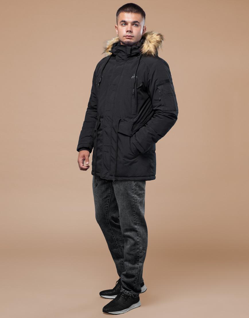 Черная парка зимняя фирменная модель 25770 фото 3