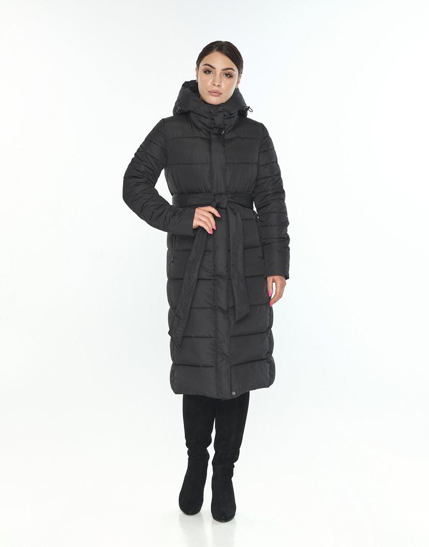 Длинная куртка Wild Club женская чёрная с поясом 538-74 фото 2