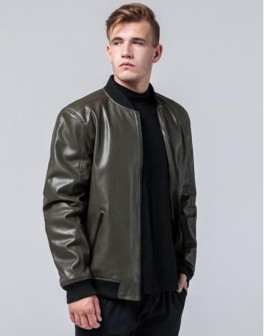 Молодежная качественная куртка цвет хаки модель 4055 фото 1