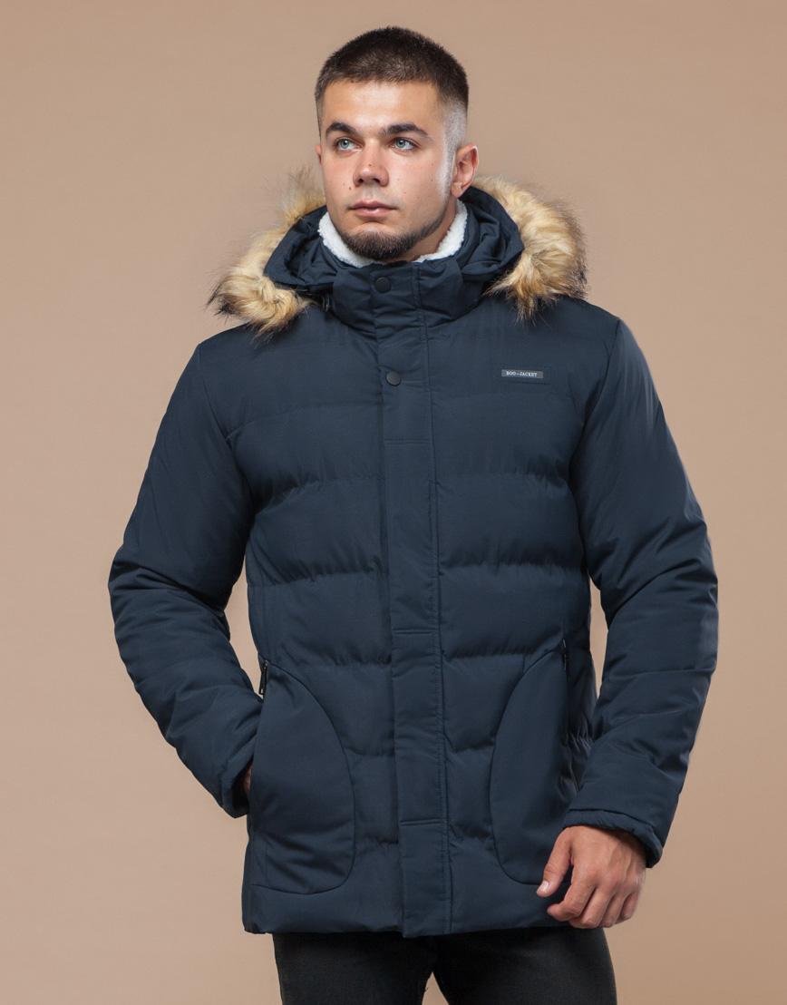 Куртка темно-синяя фирменная подростковая модель 25780 оптом фото 3