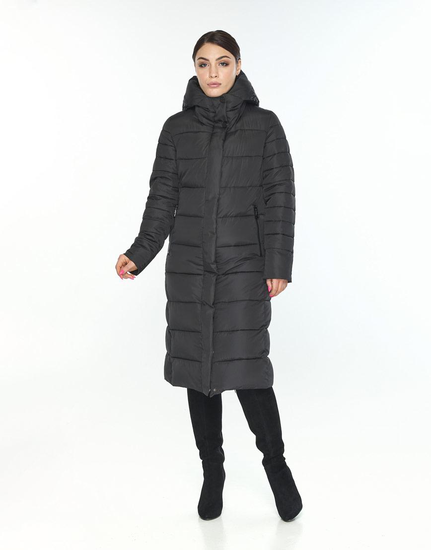 Длинная куртка Wild Club женская чёрная с поясом 538-74 фото 1