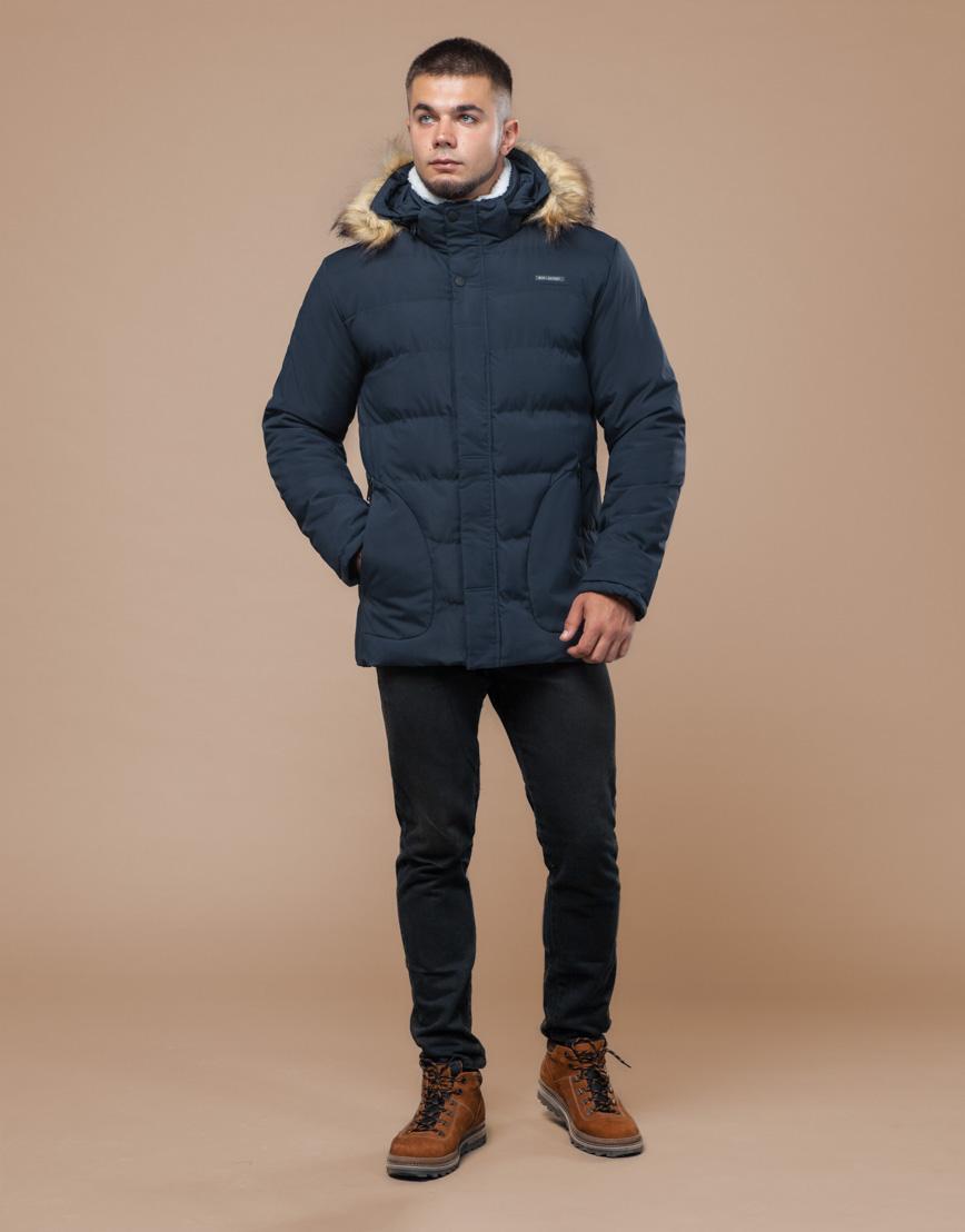 Куртка темно-синяя фирменная подростковая модель 25780 оптом фото 2