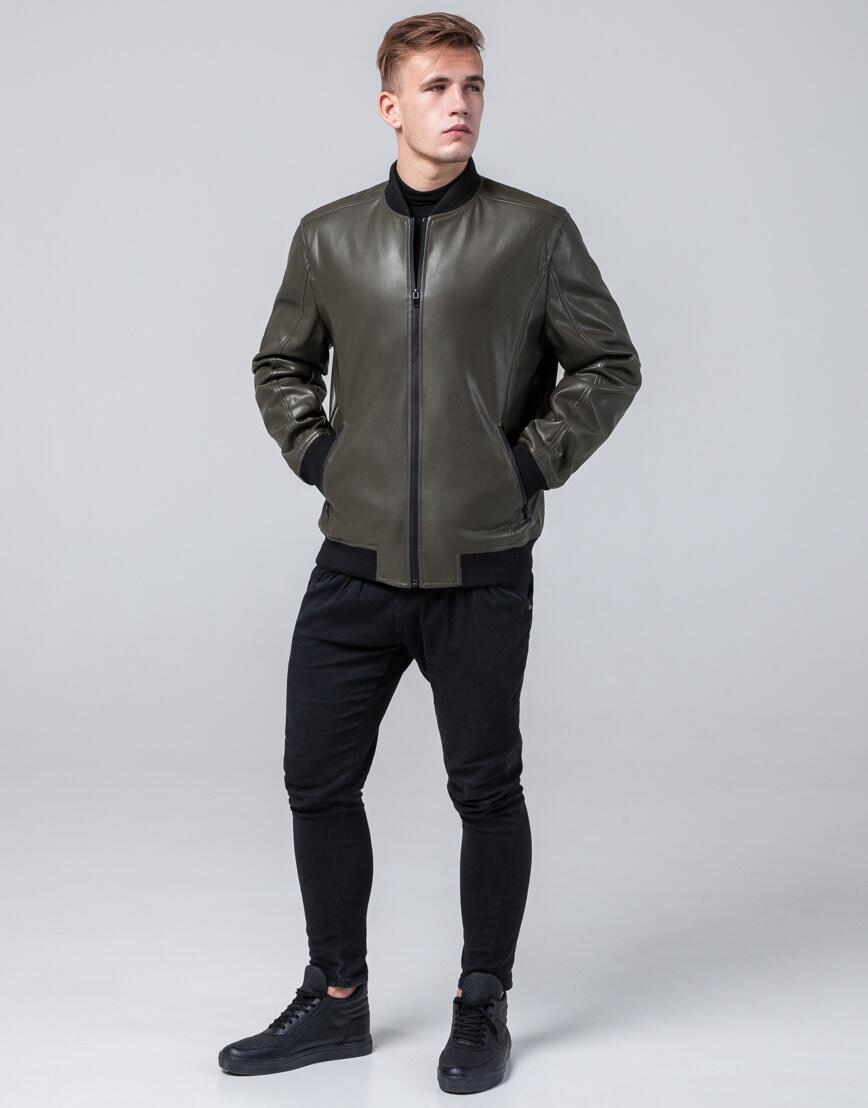 Молодежная качественная куртка цвет хаки модель 4055 фото 2