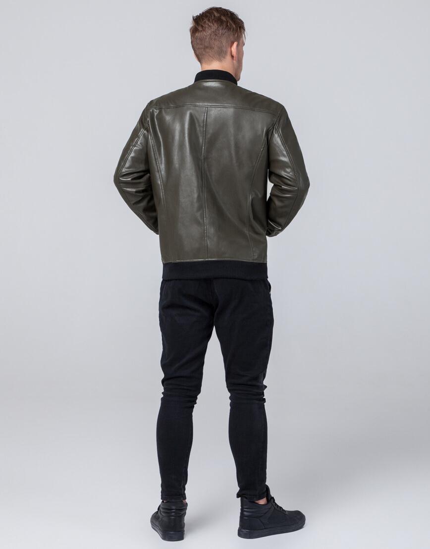 Молодежная качественная куртка цвет хаки модель 4055 фото 4
