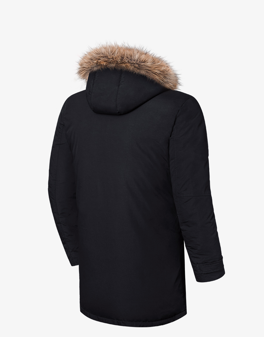Брендовая черная зимняя куртка модель 8801  фото 2