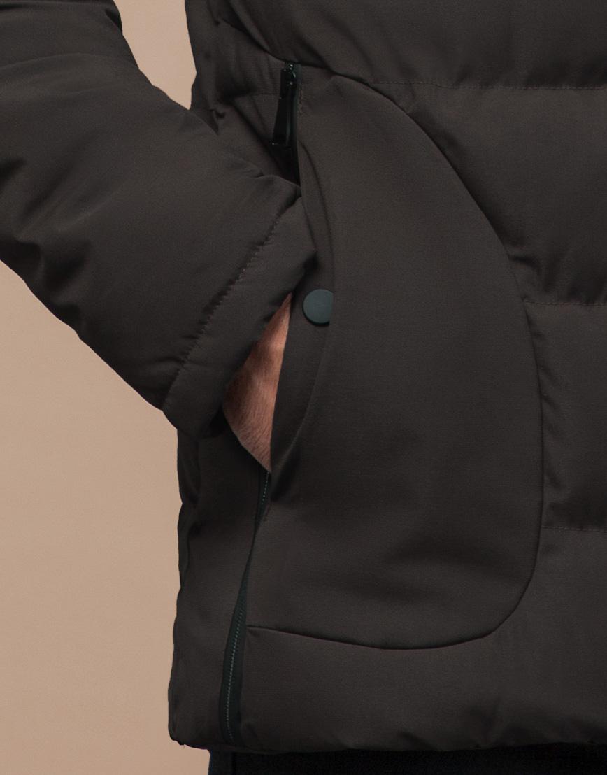 Куртка оригинальная зимняя цвета кофе модель 25780 фото 6