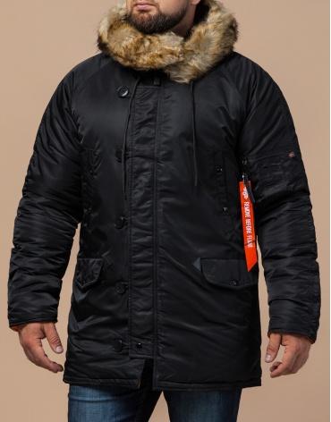 Зимняя парка практичная черная модель 4576