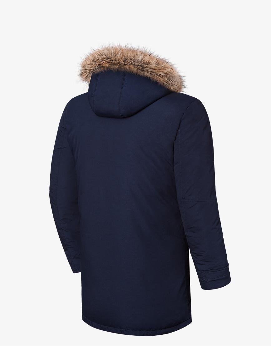 Утепленная зимняя темно-синяя куртка модель 8801 фото 2