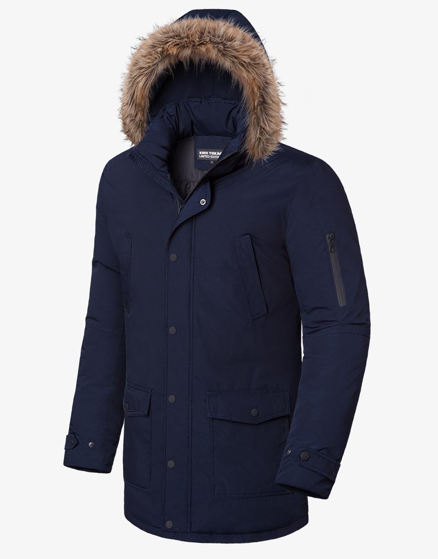 Утепленная зимняя темно-синяя куртка модель 8801 фото 1