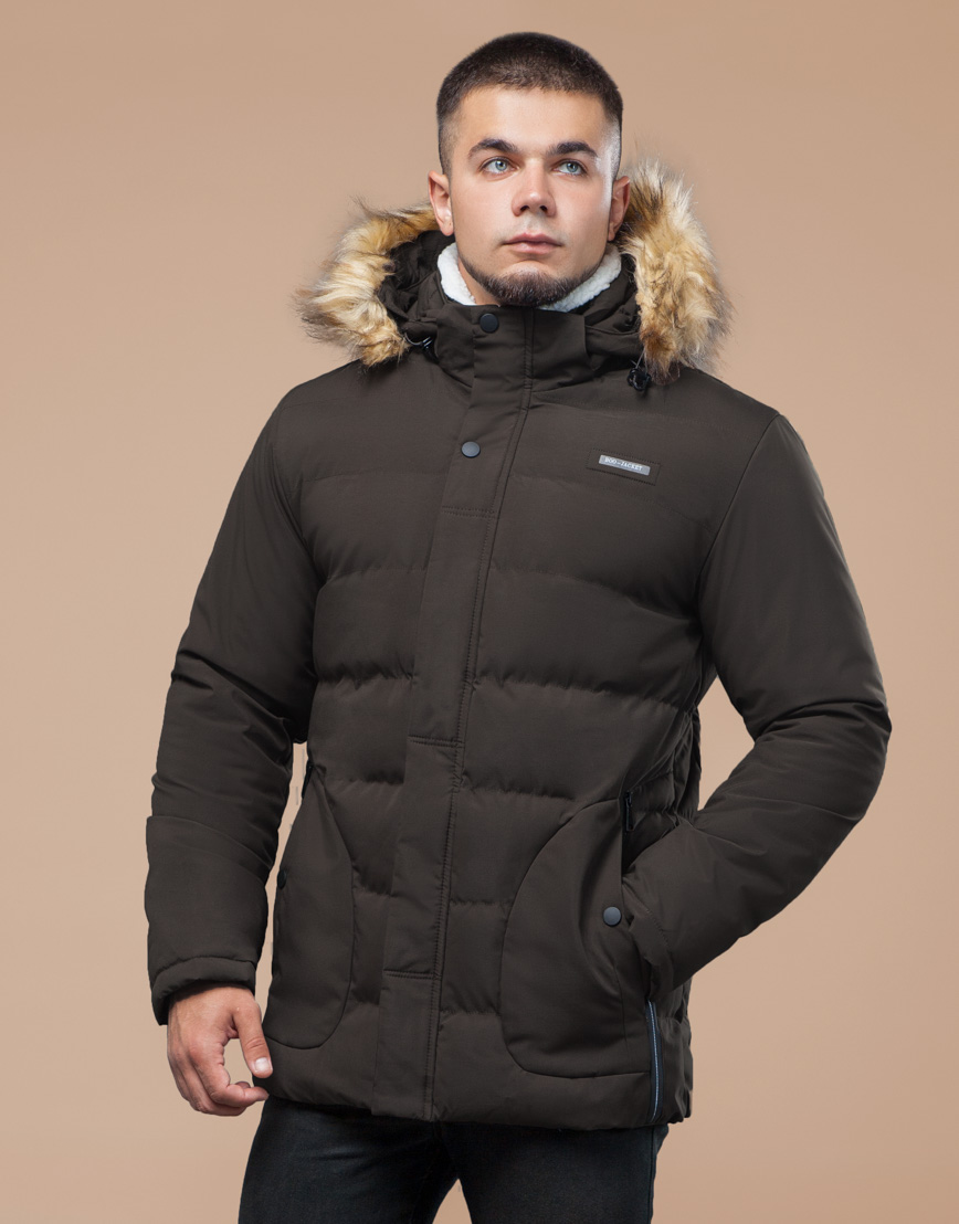 Куртка оригинальная зимняя цвета кофе модель 25780 фото 3