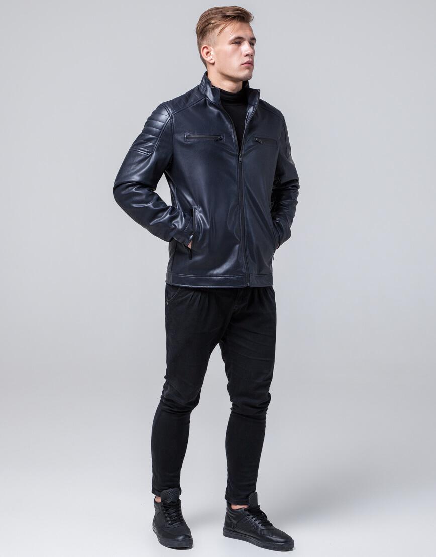 Куртка молодежная темно-синего цвета модель 2612 фото 2