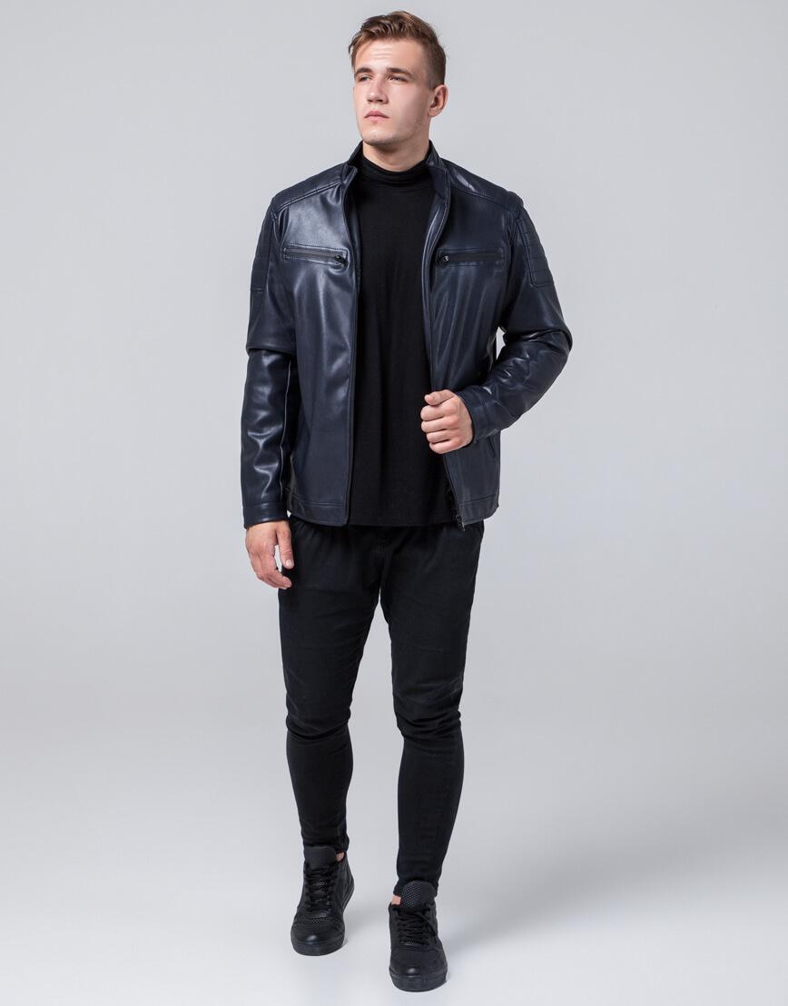 Куртка молодежная темно-синего цвета модель 2612 фото 3