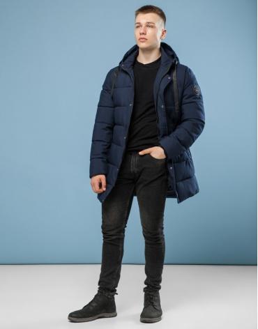 Фабричная темно-синяя куртка зимняя модель 6005