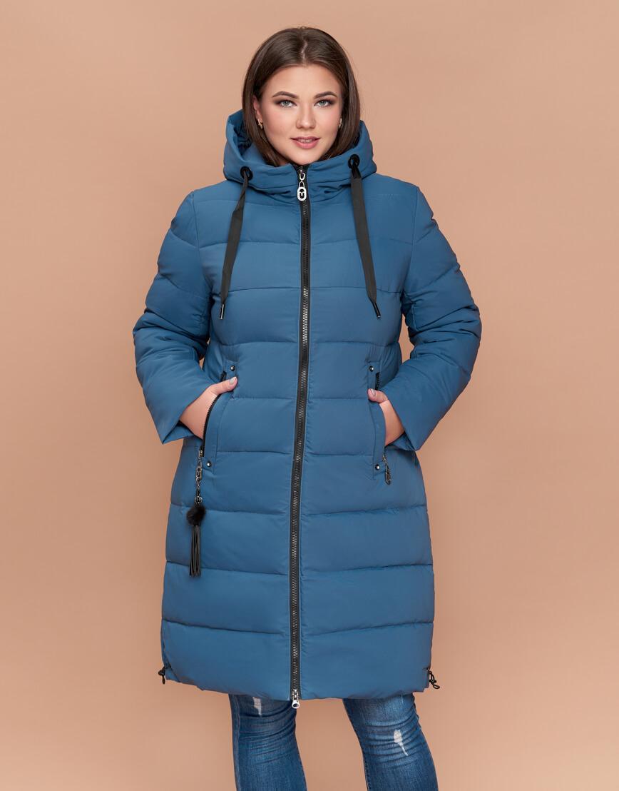 Темно-голубая куртка женская большого размера высокого качества модель 25045