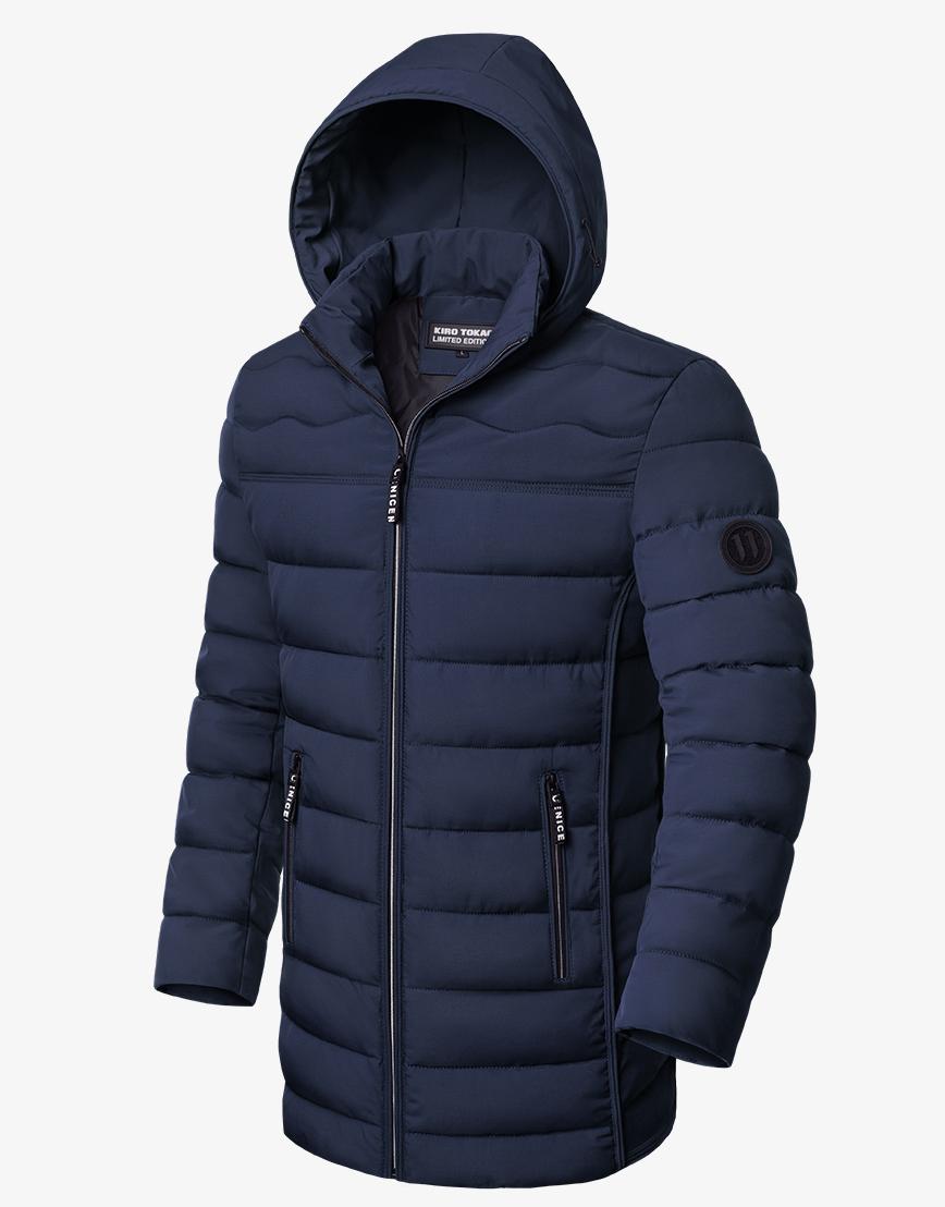 Куртка зимняя современная темно-синяя модель 8803