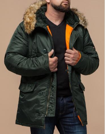 Зимняя парка модная хаки модель 4576