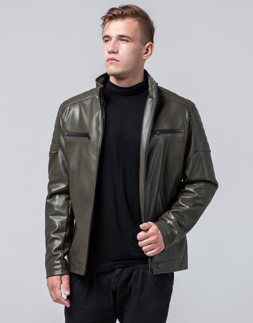 Осенне-весенняя куртка молодежная цвета хаки модель 2612 фото 3