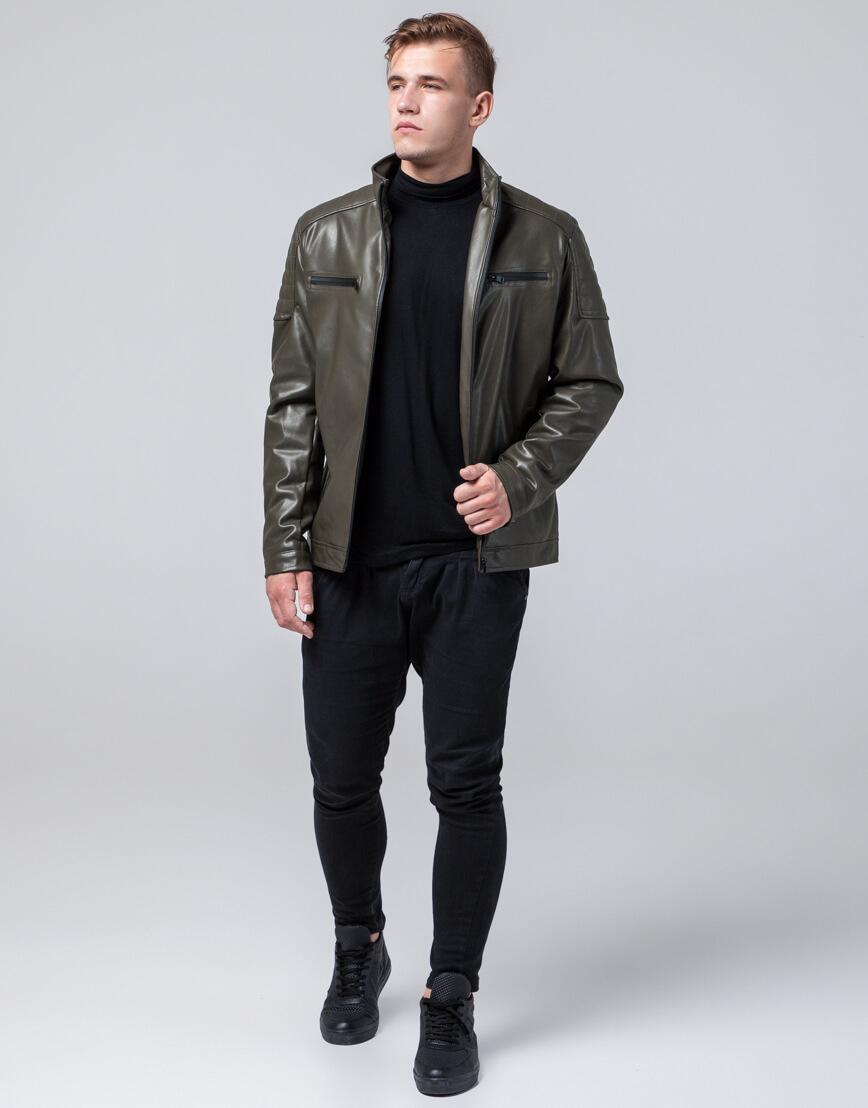 Осенне-весенняя куртка молодежная цвета хаки модель 2612 фото 1
