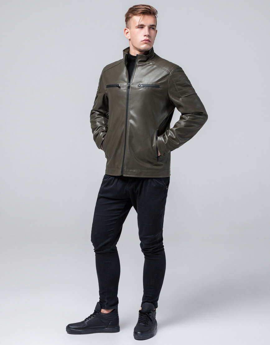 Осенне-весенняя куртка молодежная цвета хаки модель 2612 фото 2