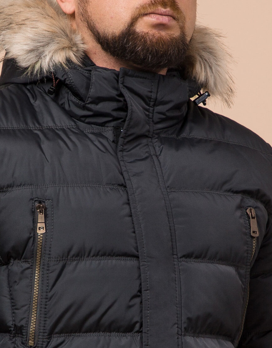 Графитовая куртка большого размера стильная модель 23752 фото 4