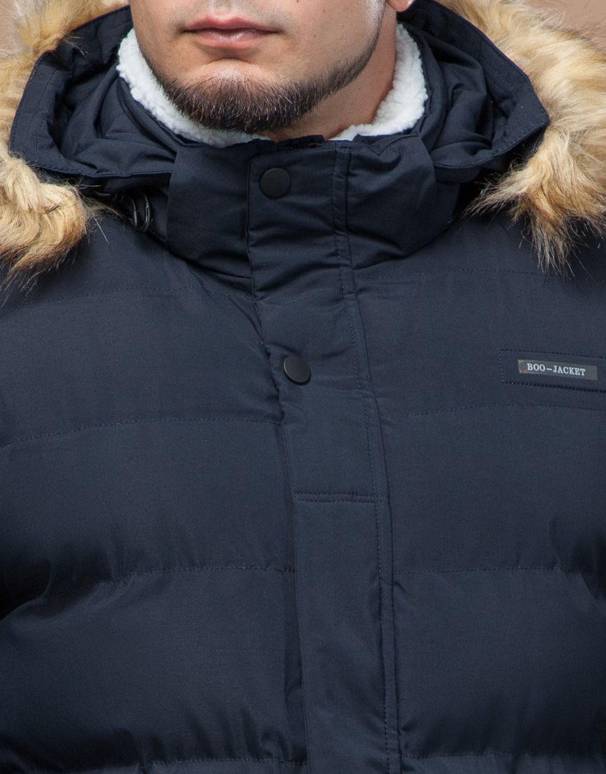 Куртка темно-синяя зимняя комфортная модель 25780 фото 5