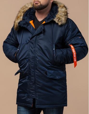 Зимняя парка брендовая темно-синяя модель 4576