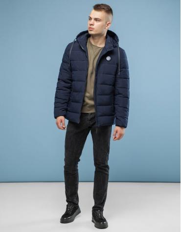 Куртка темно-синяя качественного пошива модель 6015 оптом