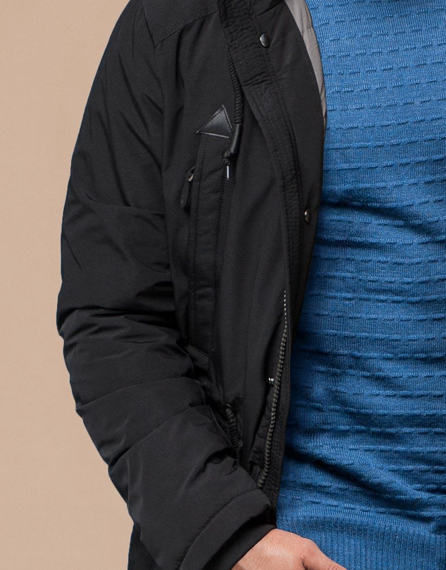Парка молодежная черного цвета комфортная модель 25770 фото 6