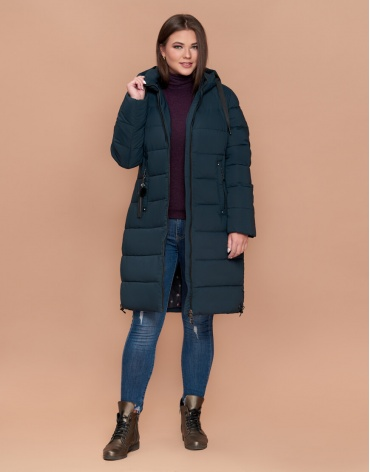 Темно-зеленая куртка комфортная женская большого размера модель 25045