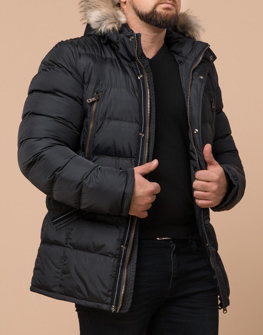 Графитовая куртка большого размера стильная модель 23752 фото 1