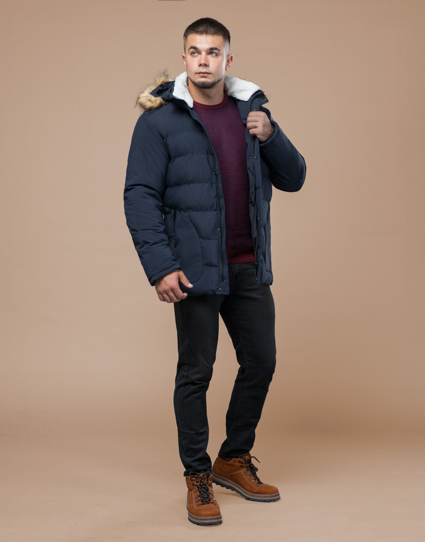 Куртка темно-синяя зимняя комфортная модель 25780 фото 2