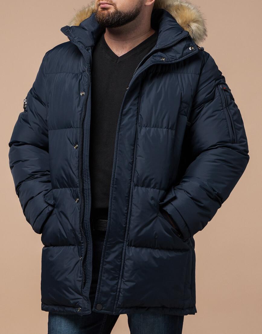 Зимняя темно-синяя куртка большого размера для мужчин модель 2084 оптом фото 2