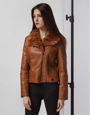 Коричневая осенне-весенняя женская куртка модель 25522 фото 1
