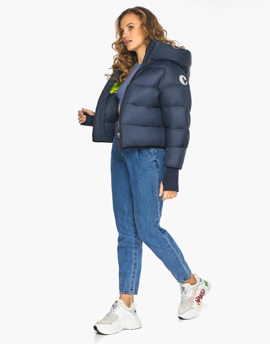 Пуховик куртка Youth женская темно-синяя модель 26420 фото 4