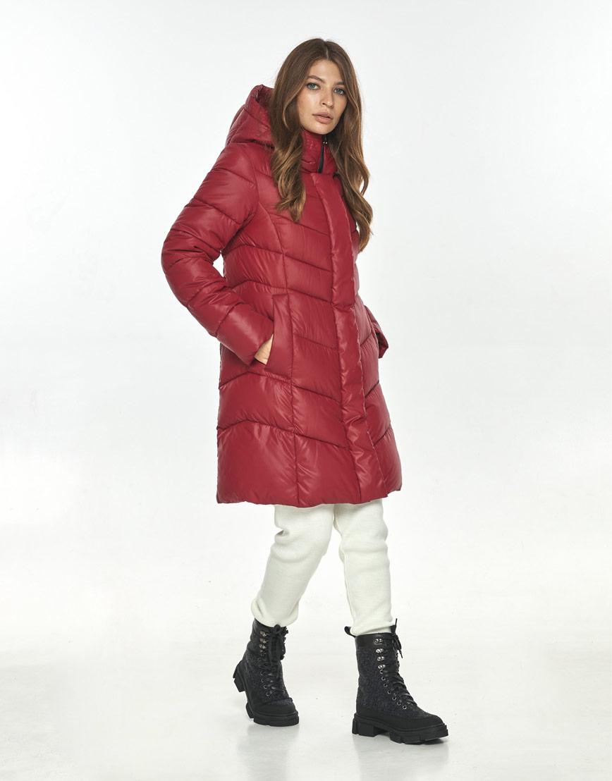 Комфортная куртка красная женская Ajento зимняя 22857 фото 2