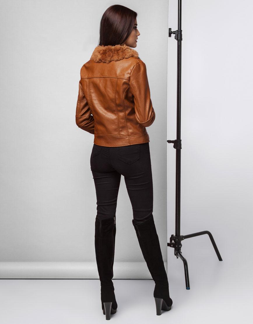 Коричневая осенне-весенняя женская куртка модель 25522 фото 4
