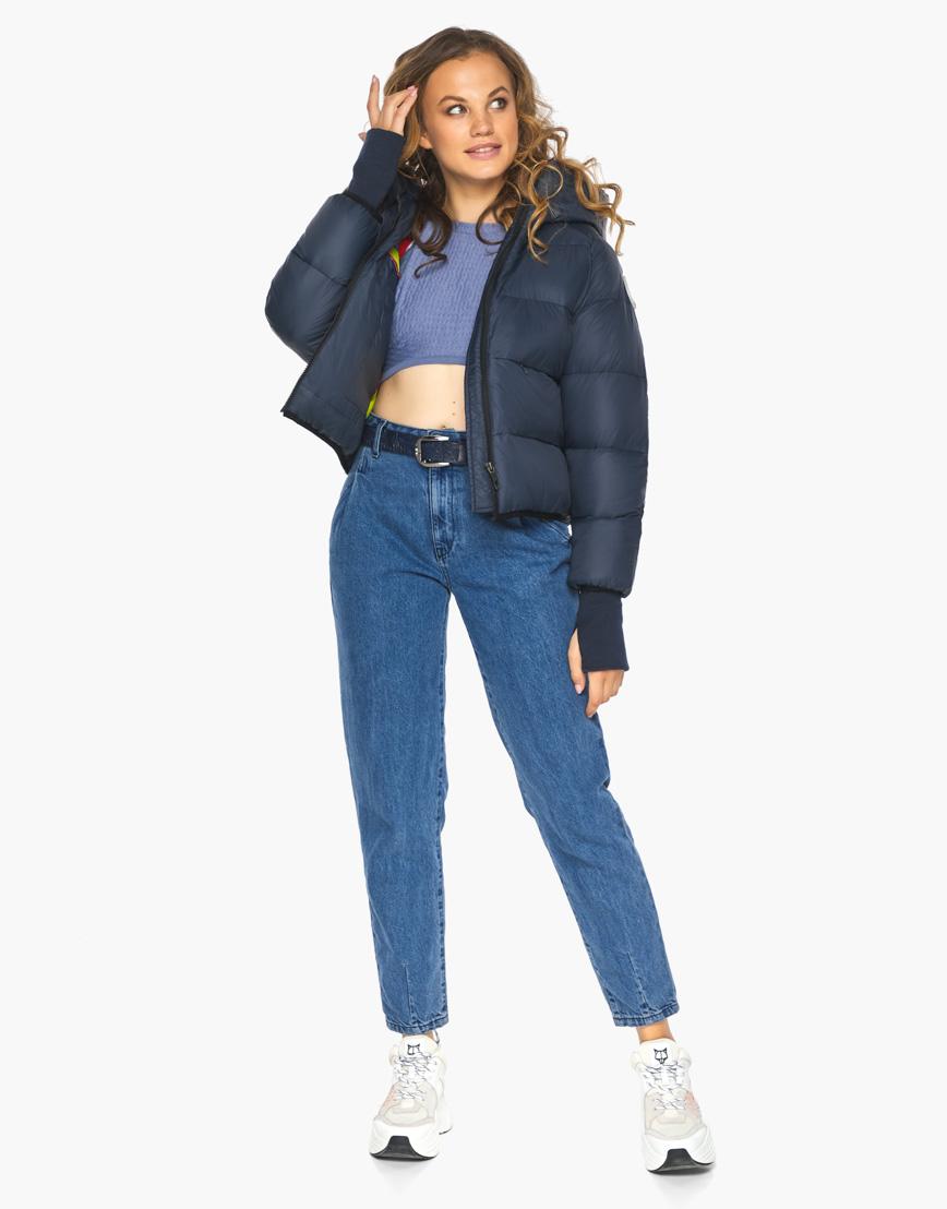 Пуховик куртка Youth женская темно-синяя модель 26420 фото 6