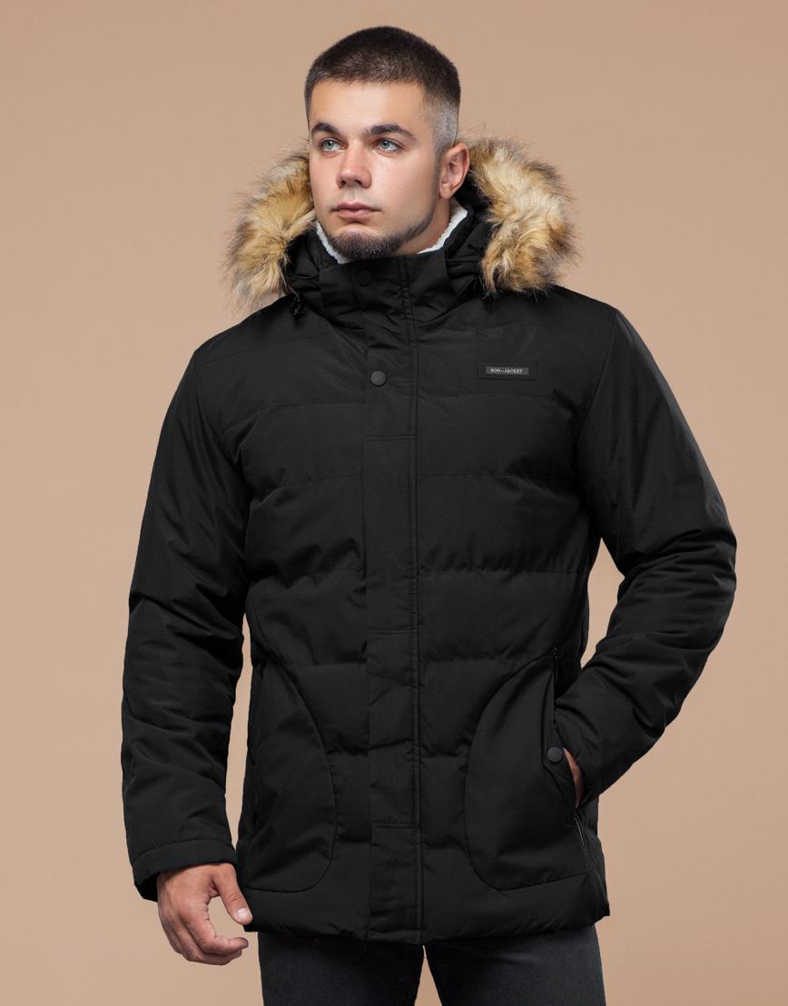 Черная зимняя куртка мужская качественного пошива модель 25780 фото 3